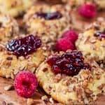 keto raspberry jam thumbprint cookie recipe with almond flour