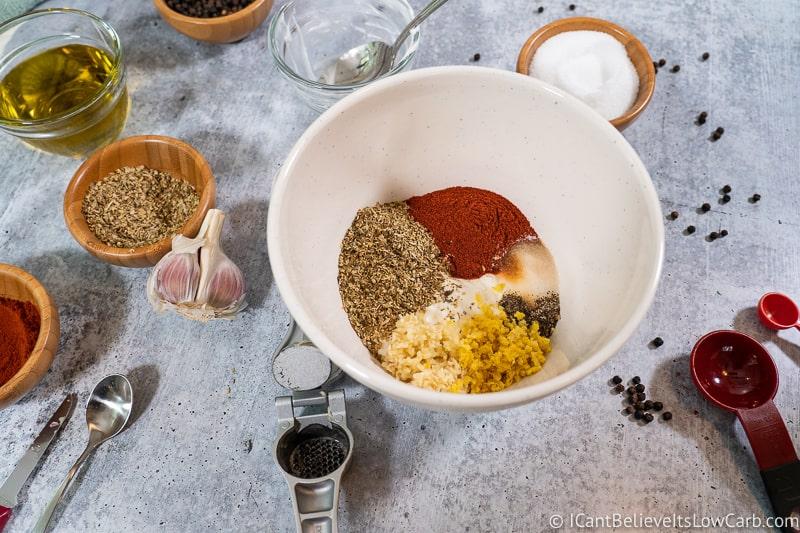Greek Chicken Bowl marinade mixture