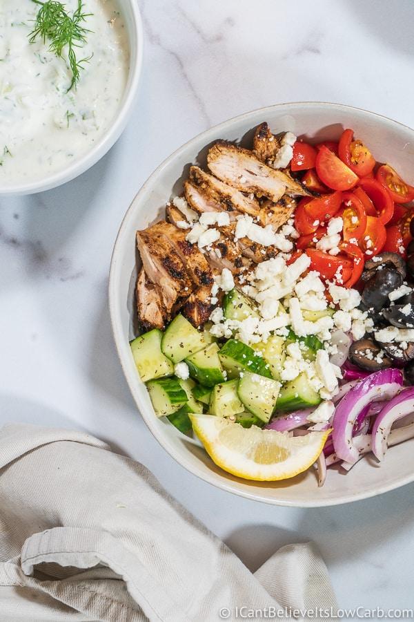 Easy Greek Chicken Bowl Recipe w/ tzatziki sauce