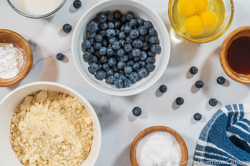 ingredients for Fluffy Keto Blueberry Pancakes Recipe
