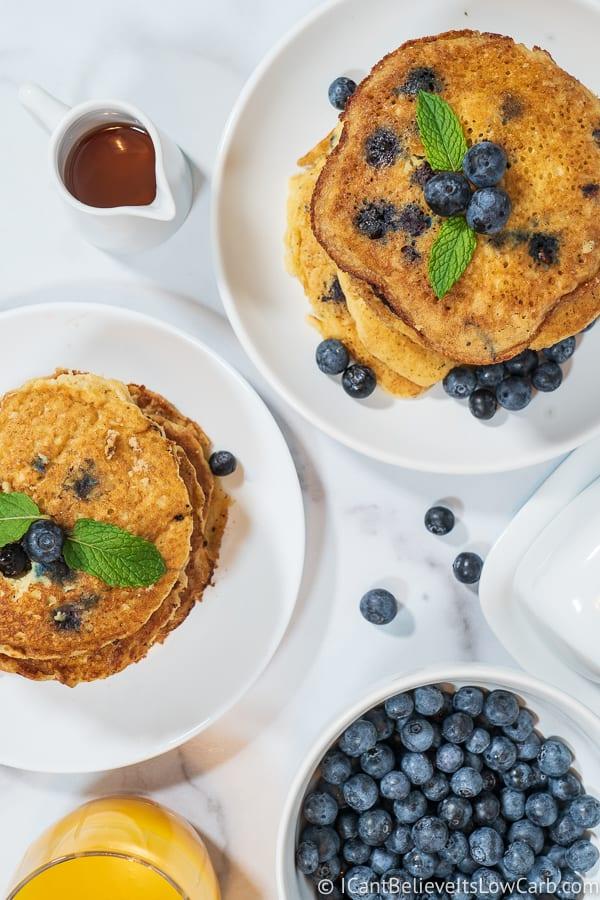 2 stacks of Fluffy Keto Blueberry Pancakes Recipe almond flour