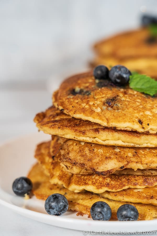 stack of Fluffy Keto Blueberry Pancakes