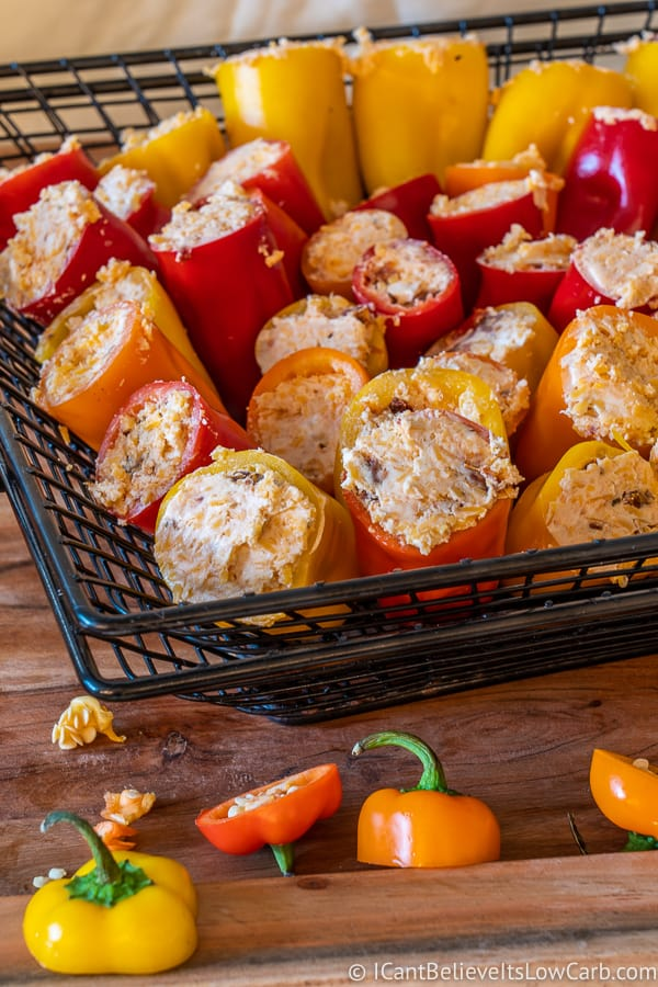 stuffed goat cheese mini peppers before grilling
