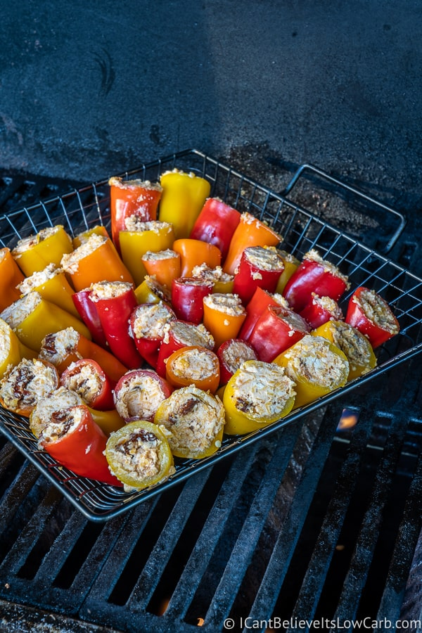low carb goat cheese mini peppers on grill