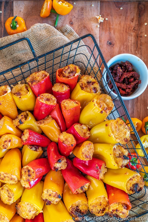 rack of keto mini stuffed peppers from grill