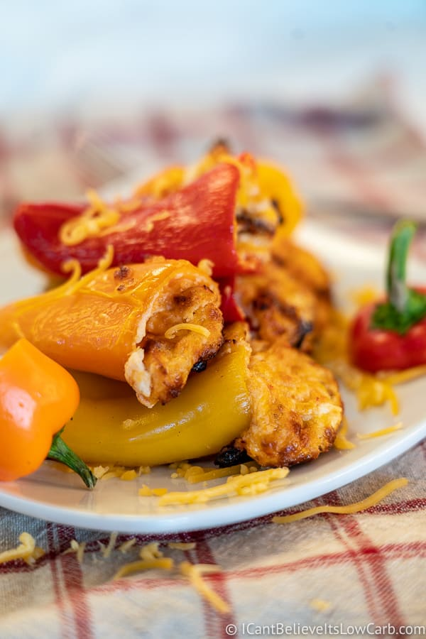 low carb stuffed mini peppers on a plate