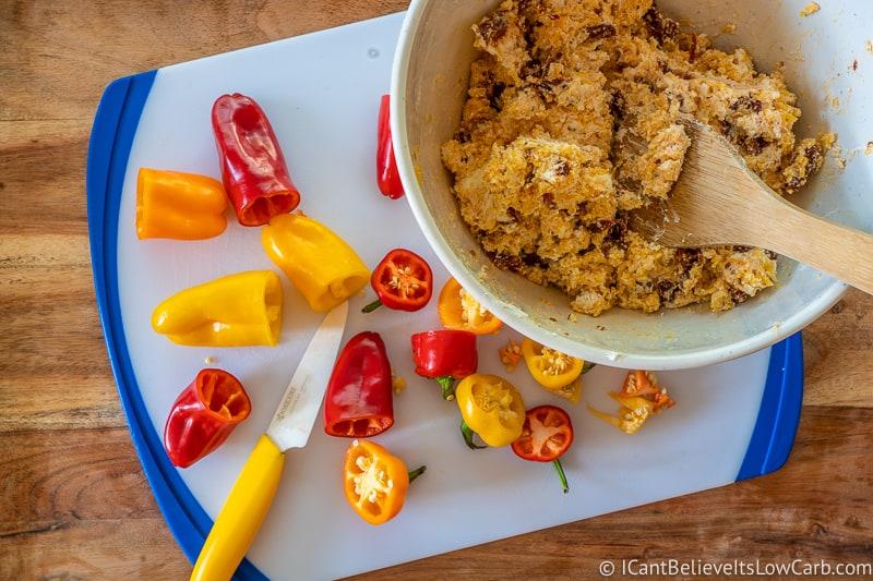 stuffed mini peppers mix and cut peppers