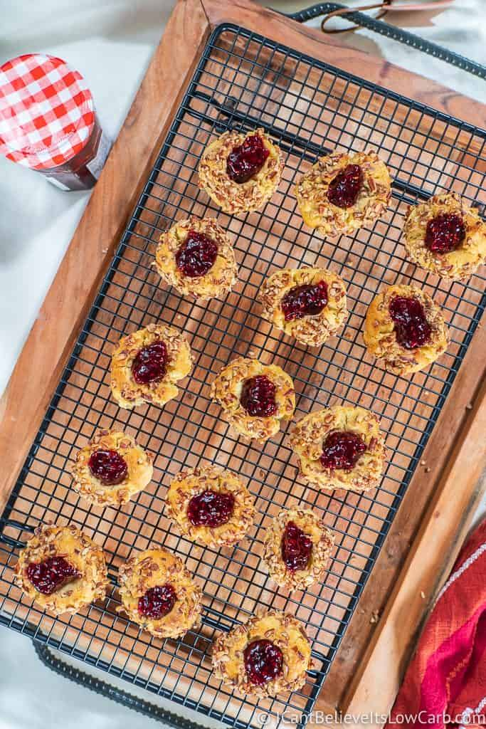 Raspberry keto thumbprint cookies out of the oven