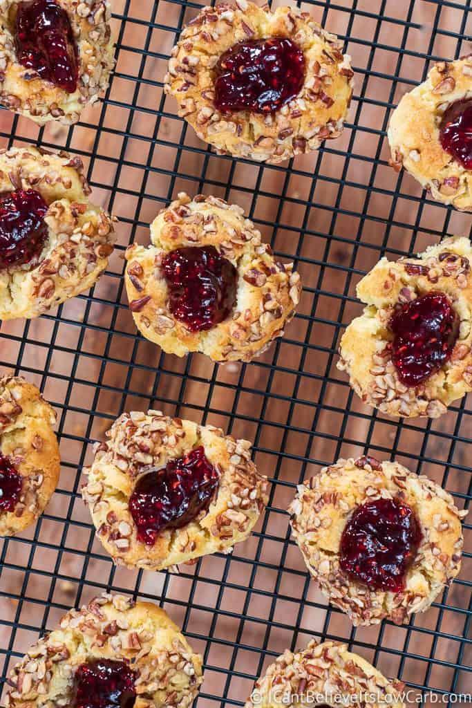 rack of low carb Raspberry thumbprint cookies