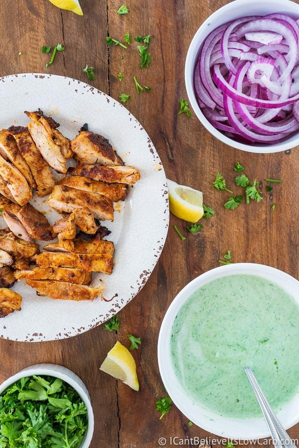 preparing the Tandoori Chicken lettuce wraps