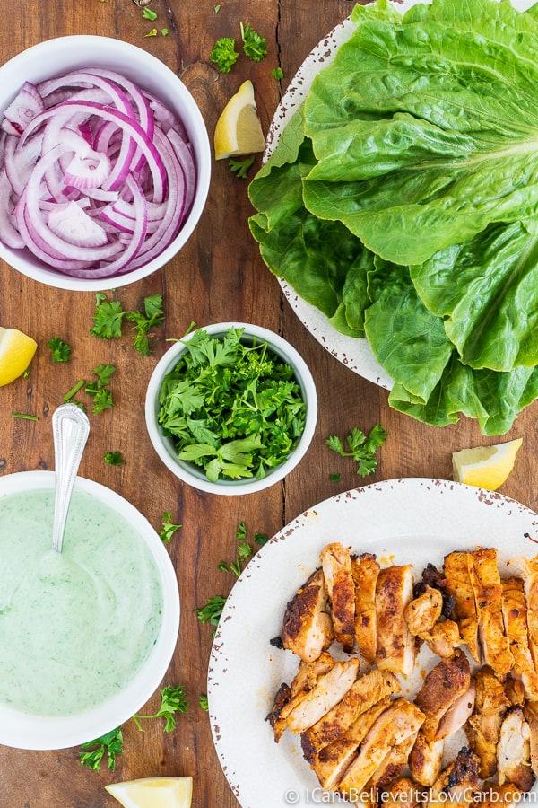 Tandoori Chicken lettuce wraps recipe before preparing