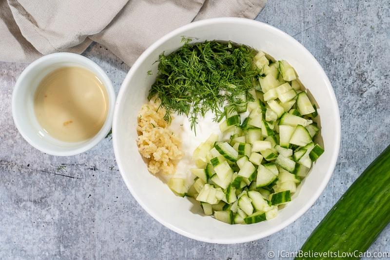 tzatziki sauce mixed in a bowl