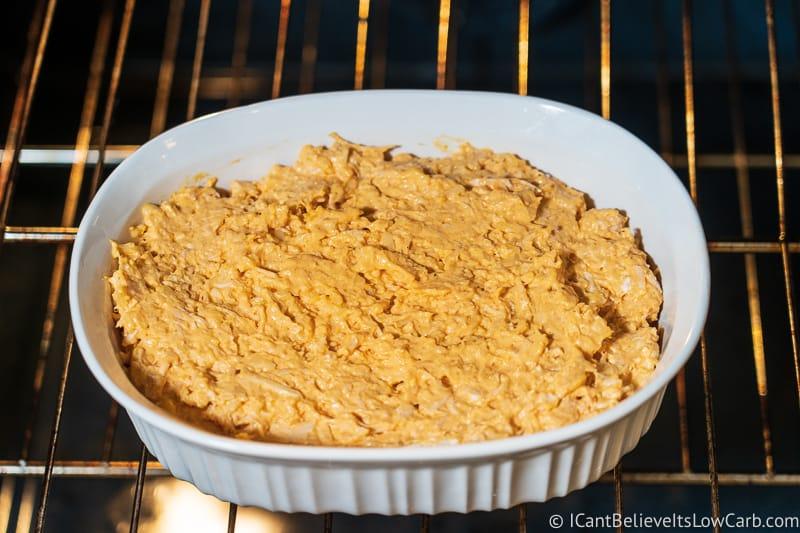 Buffalo Chicken Dip Recipe baking in oven