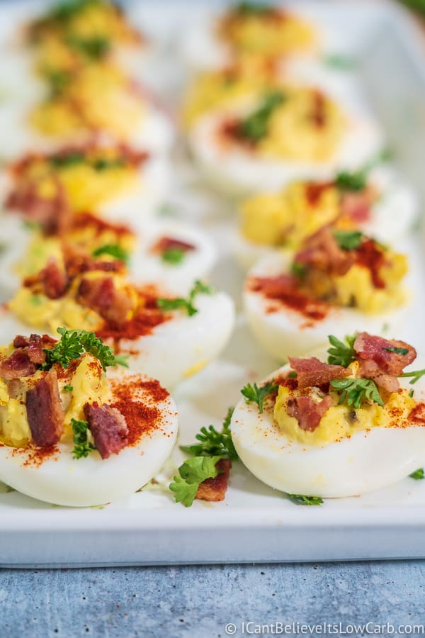 row of Bacon Deviled Eggs, keto friendly