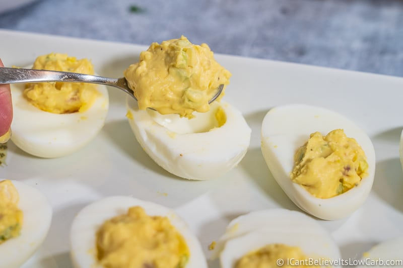 filling Keto Bacon Deviled Eggs