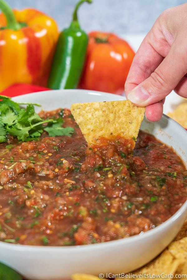 dipping chips in homemade salsa recipe