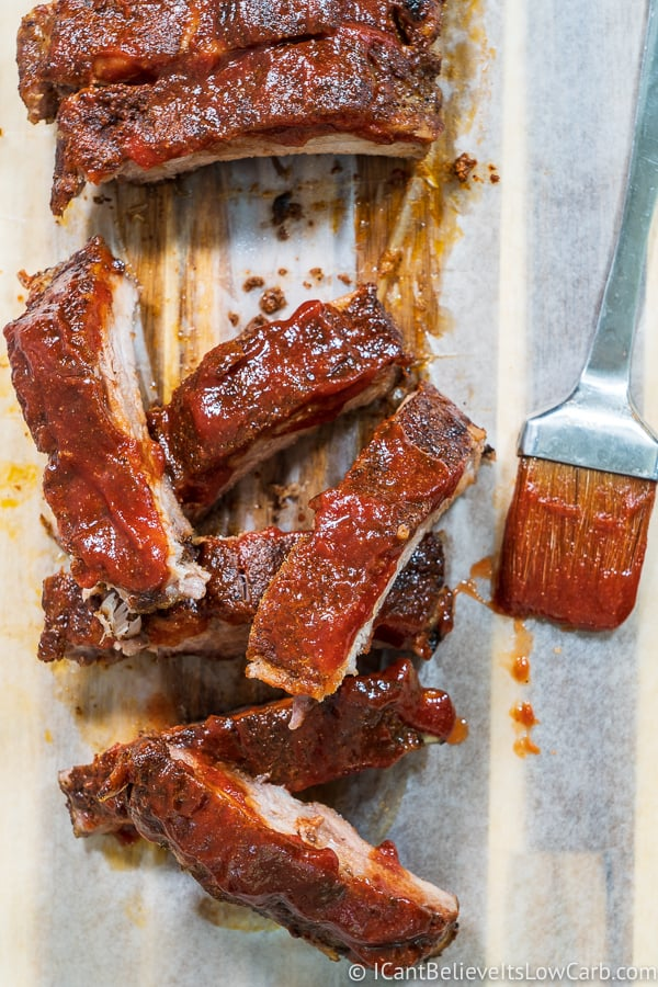 Baked Baby Back Ribs with bbq sauce keto