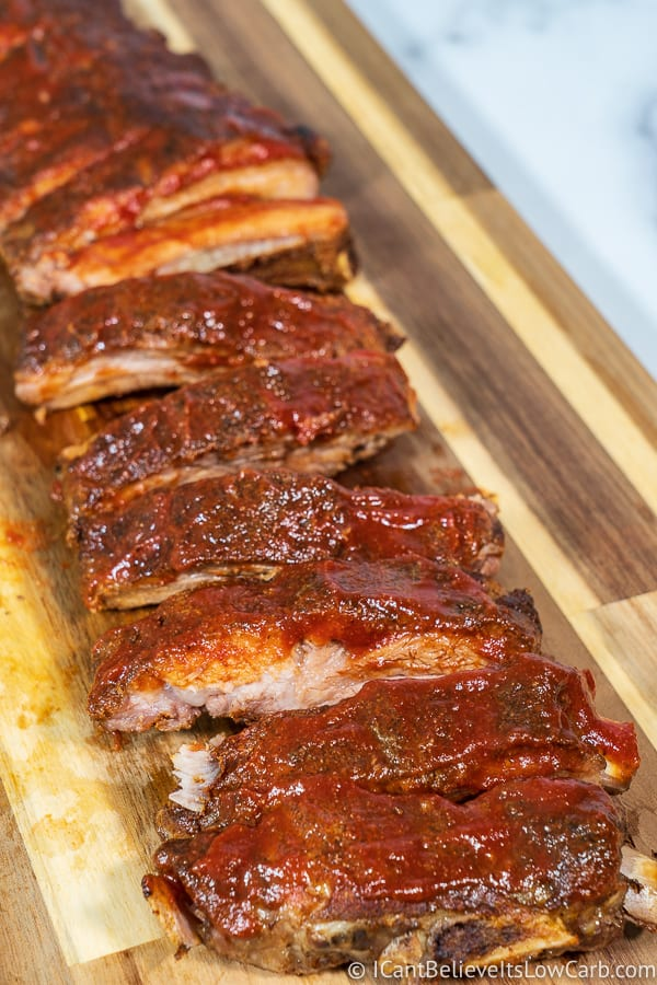 Row of Baked Baby Back Ribs in Oven