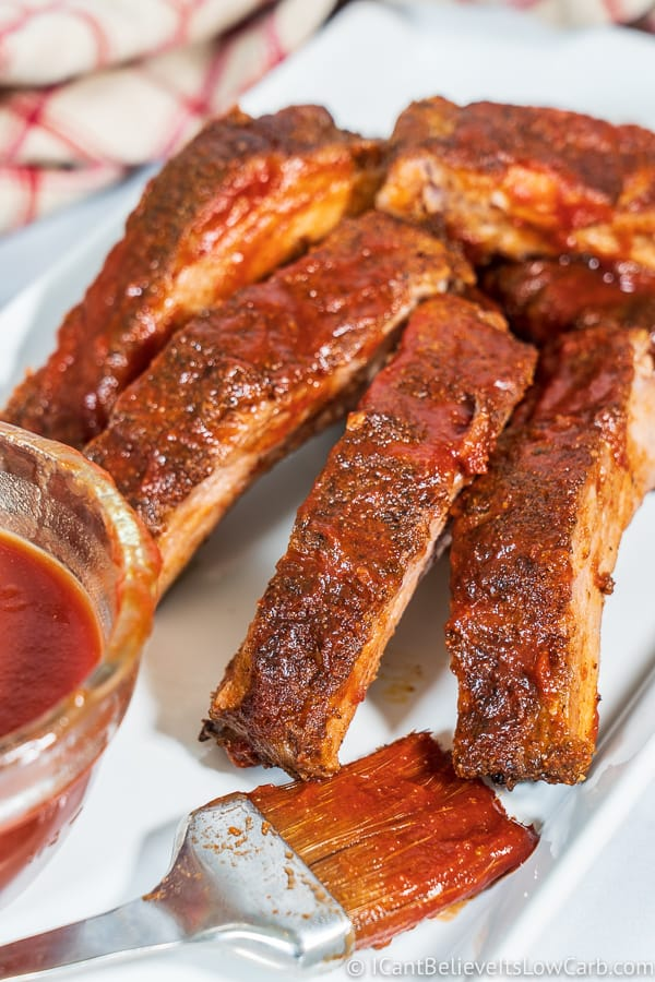 Sugar-Free BBQ Sauce served on Baked Baby Back Ribs