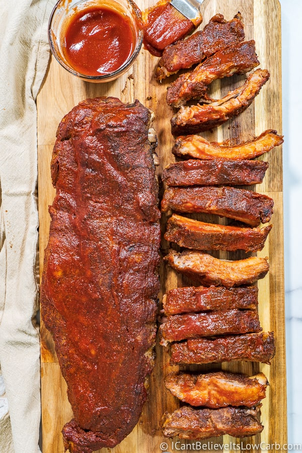 Baked Baby Back Ribs in Oven on cutting board