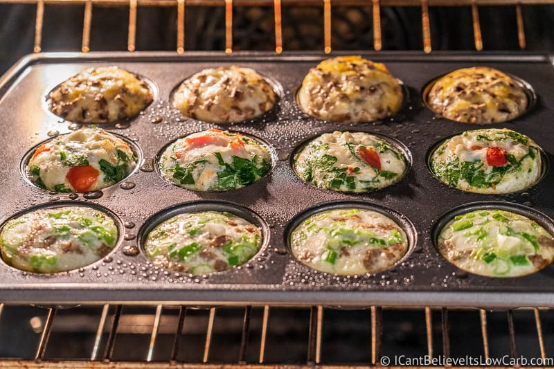 low carb Breakfast Egg White Cups baking in the oven