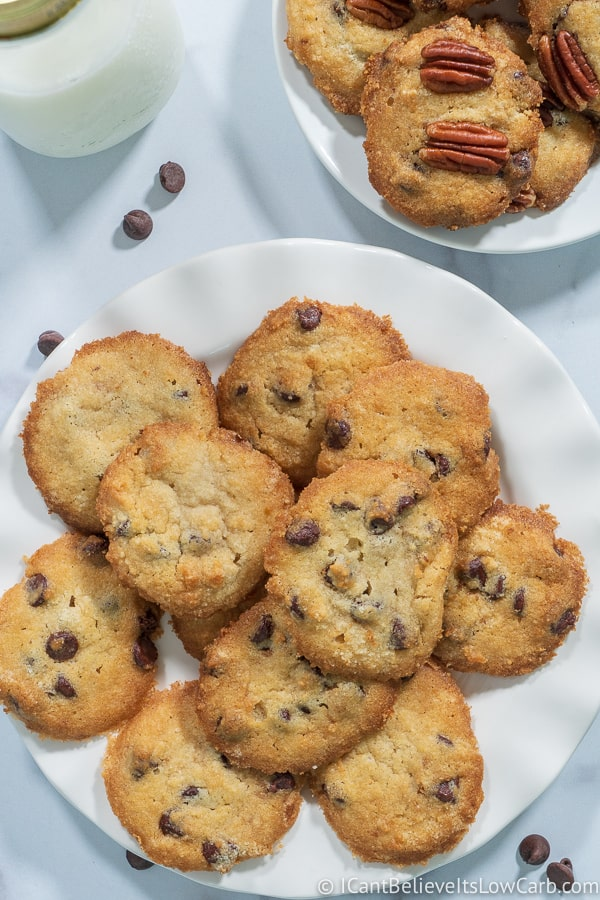 Keto Chocolate Chip Cookie Recipe on a plate with milk