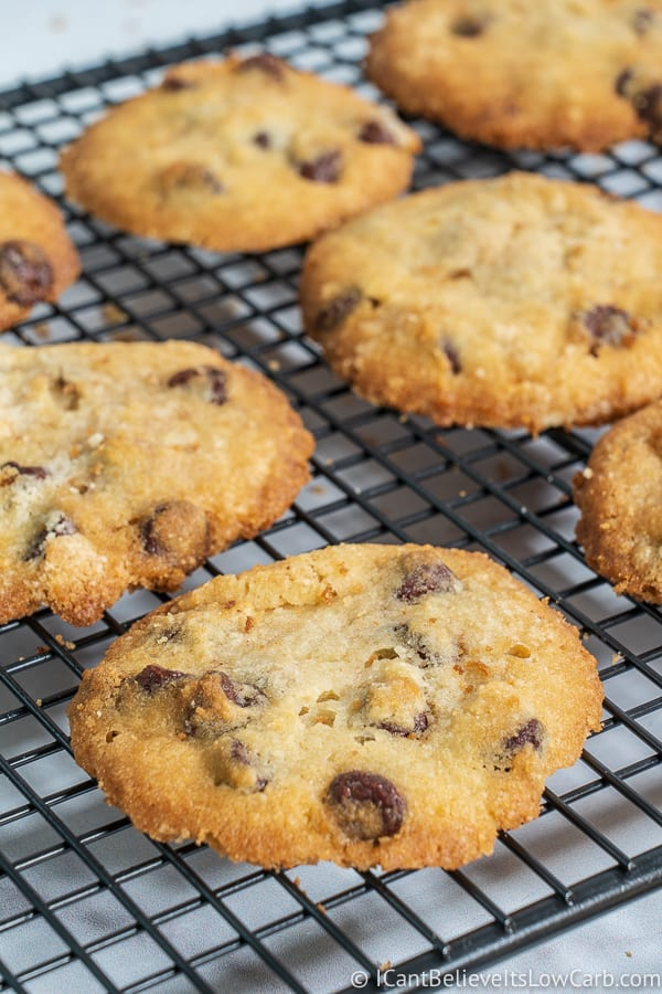 Best Keto Chocolate Chip Cookies on cooling rack