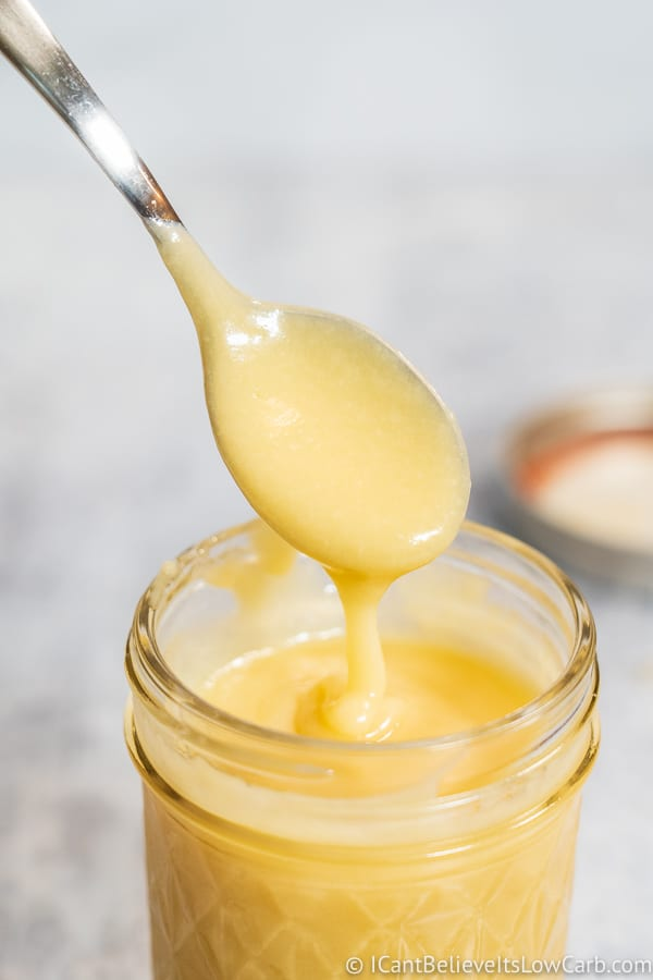 dipping spoon in low carb Condensed Milk