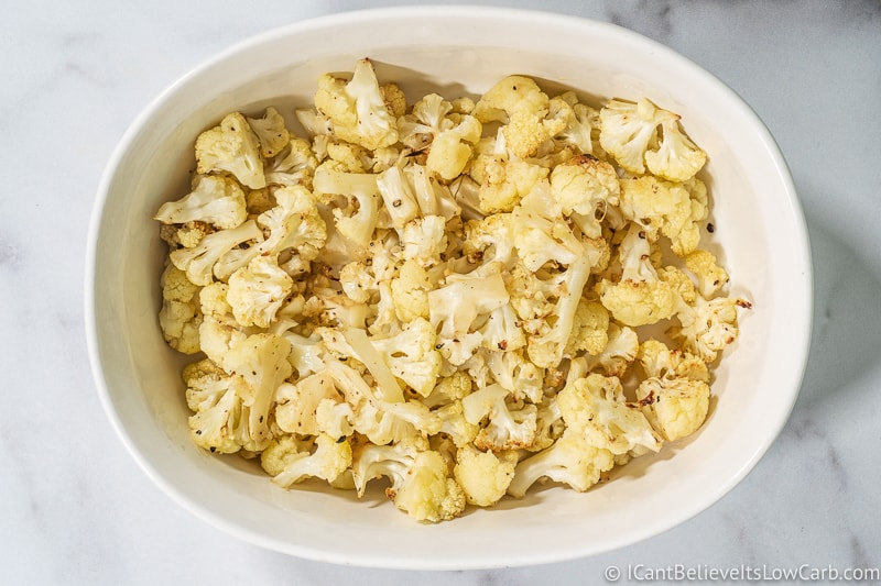 Keto Mac and Cheese Recipe Cauliflower in dish