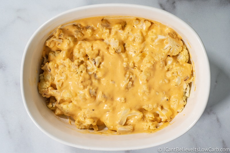 cheese sauce covering Keto Mac and Cheese Recipe Cauliflower