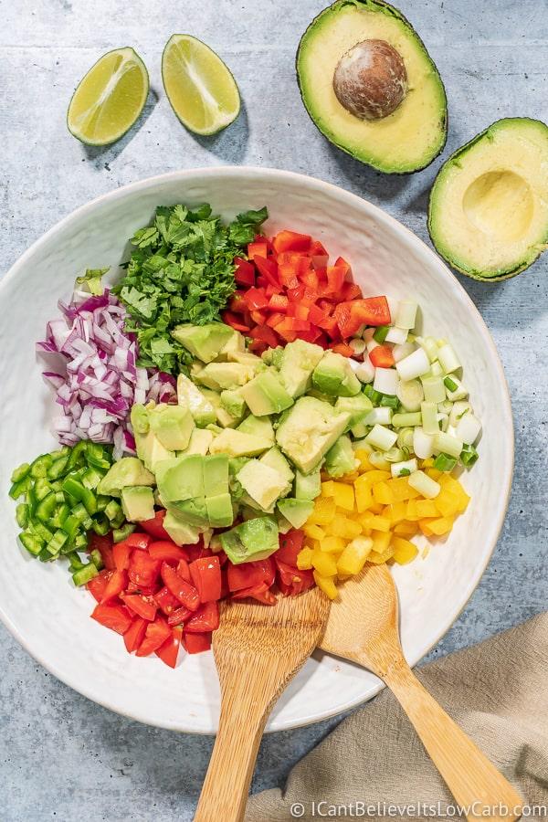 mixing Low Carb Avocado Salsa Recipe