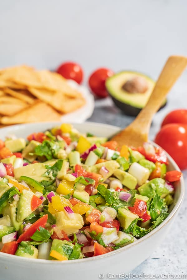 Low Carb Avocado Salsa with tortilla chips