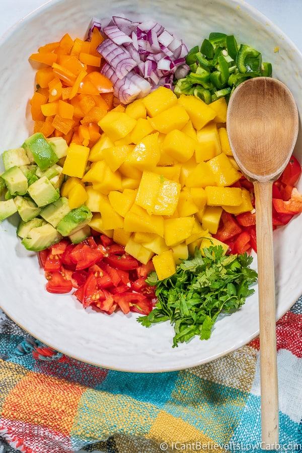 mixing up Low Carb Mango Salsa
