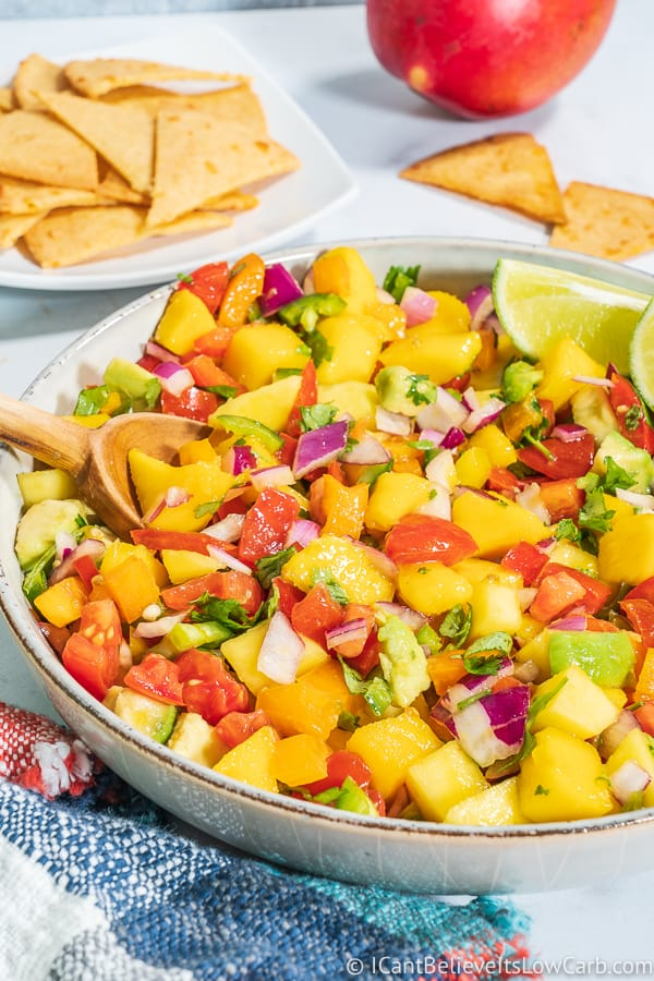 bowl of Low Carb Mango Salsa Recipe
