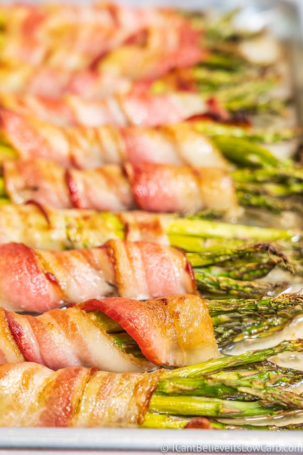 closeup of Bacon Wrapped Asparagus on tray