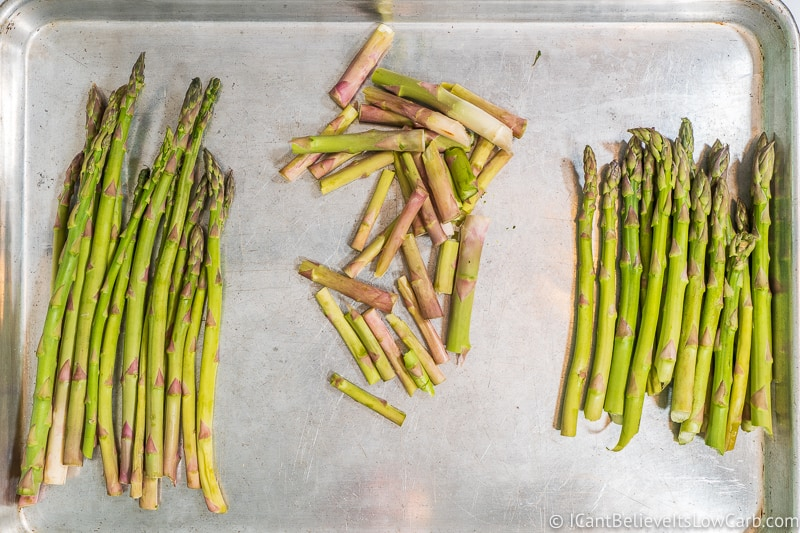snapped Asparagus on sheet pan