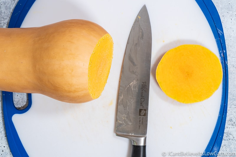 cutting top off Butternut Squash
