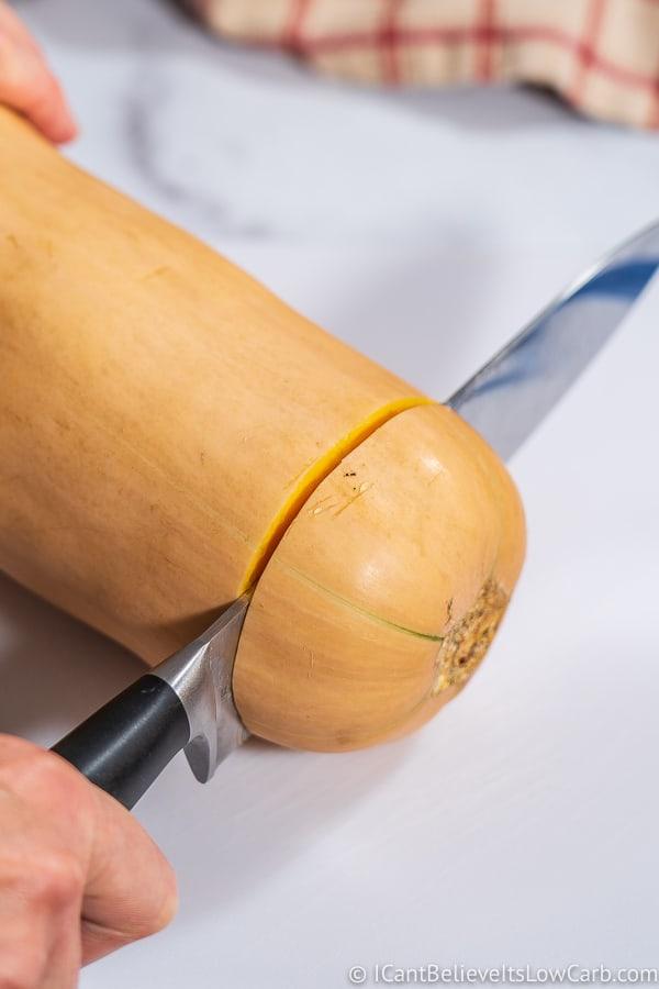 cutting the top off a butternut ssquash