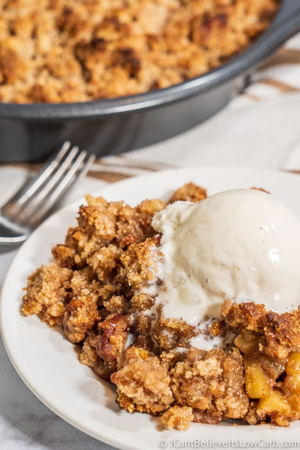 Keto Apple Crisp recipe with ice cream on top