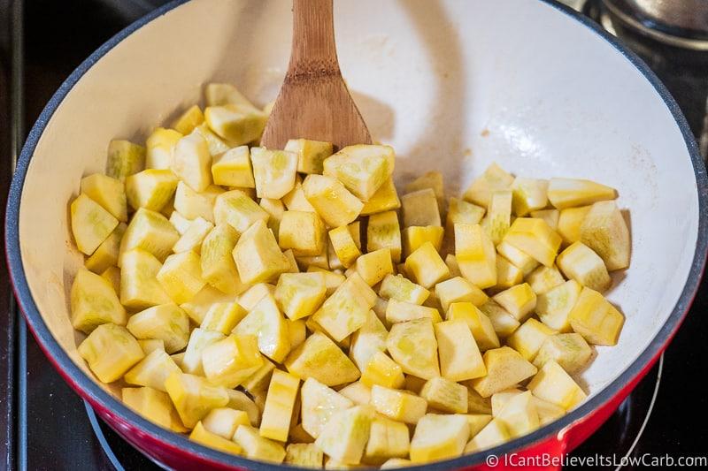 squash for Low Carb Apple Pie Recipe filling