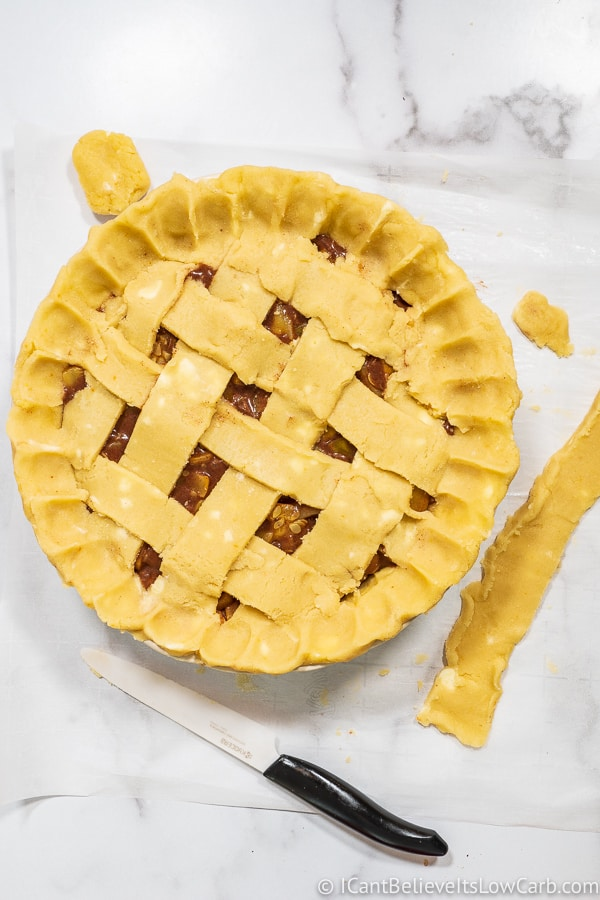 lattice for Keto Apple Pie top crust