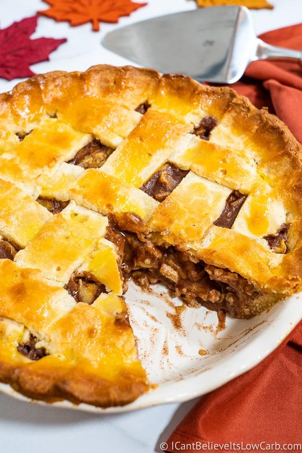 cutting into Keto Apple Pie