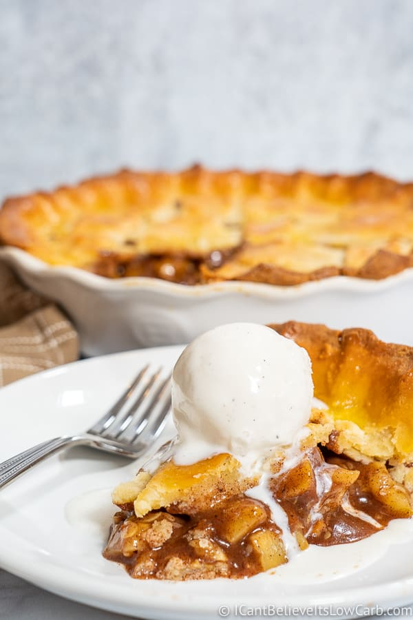Slice of Low Carb Apple Pie with Ice Cream