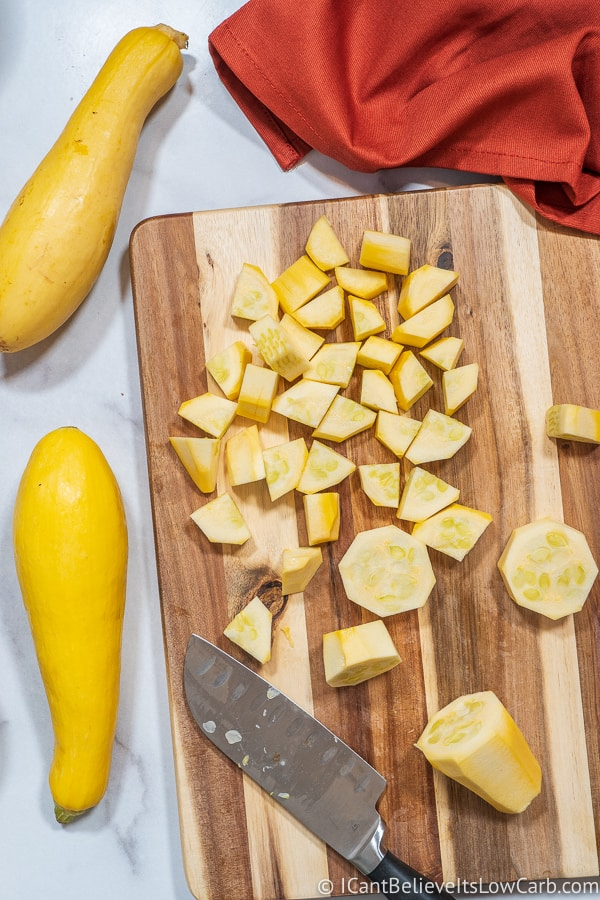 cutting yellow squash for Keto Apple Pie Recipe