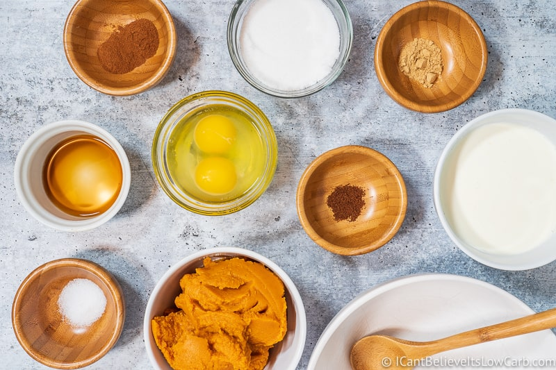 ingredients for keto Pumpkin Pie Recipe