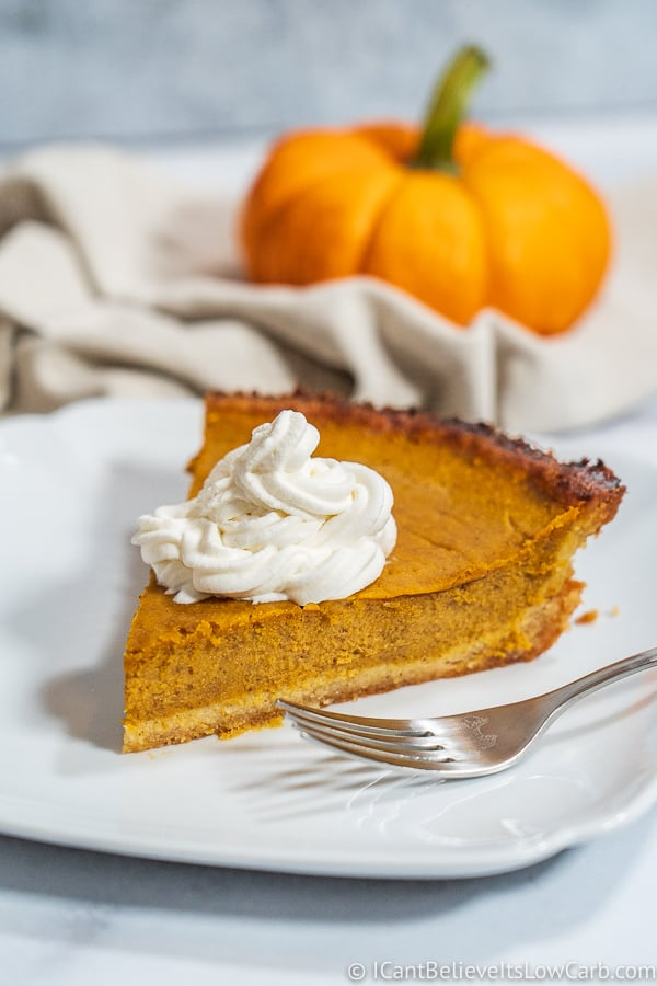 Slice of Keto Pumpkin Pie