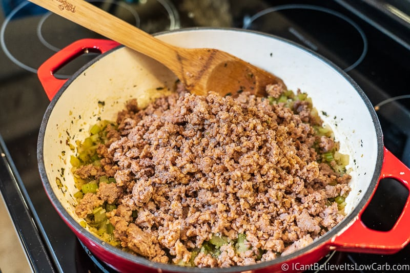 adding sausage to Low Carb Stuffing Recipe