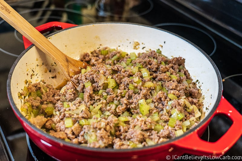 mixing up Low carb Stuffing Recipe