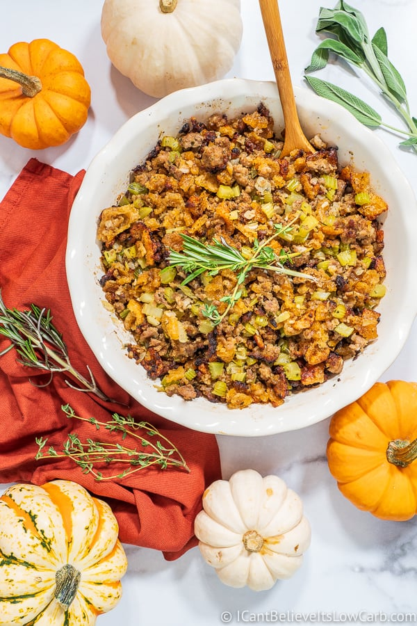 Keto Stuffing Recipe on table