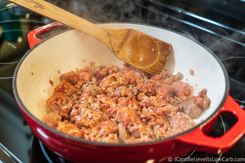 cooking sausage for Keto Stuffing Recipe